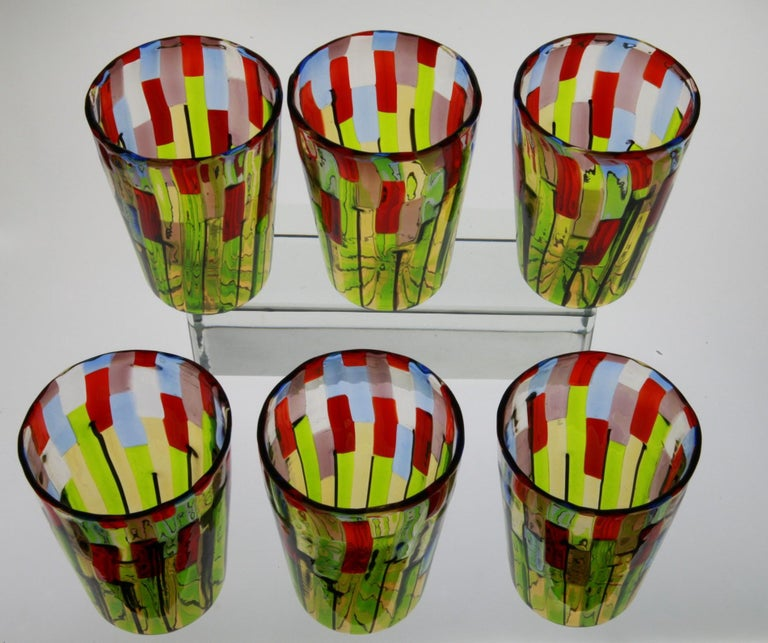 Murano Glass Tumbler, Blooming Field with Poppies and Lavender, unit price For Sale 10
