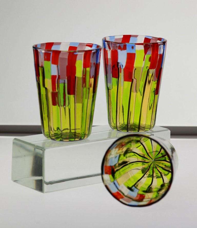 Murano Glass Tumbler, Blooming Field with Poppies and Lavender, unit price For Sale 11