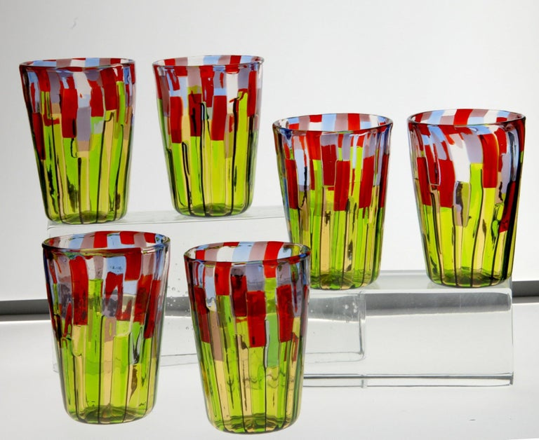 Murano Glass Tumbler, Blooming Field with Poppies and Lavender, unit price For Sale 13
