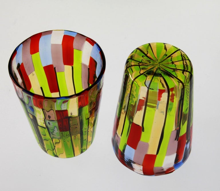 Contemporary Murano Glass Tumbler, Blooming Field with Poppies and Lavender, unit price For Sale