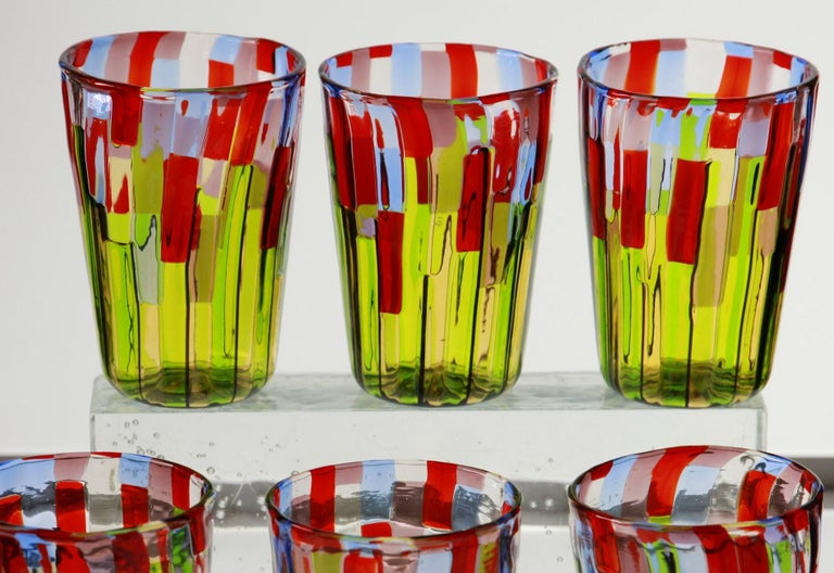 Art Glass Murano Glass Tumbler, Blooming Field with Poppies and Lavender, unit price For Sale