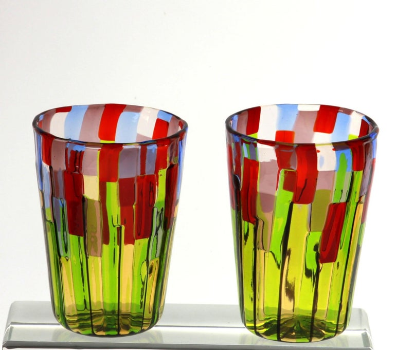 Murano Glass Tumbler, Blooming Field with Poppies and Lavender, unit price For Sale 2