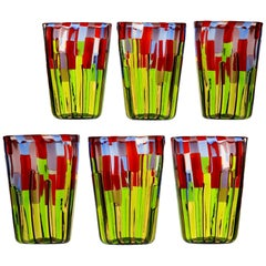 Murano Glass Tumbler, Blooming Field with Poppies and Lavender, unit price