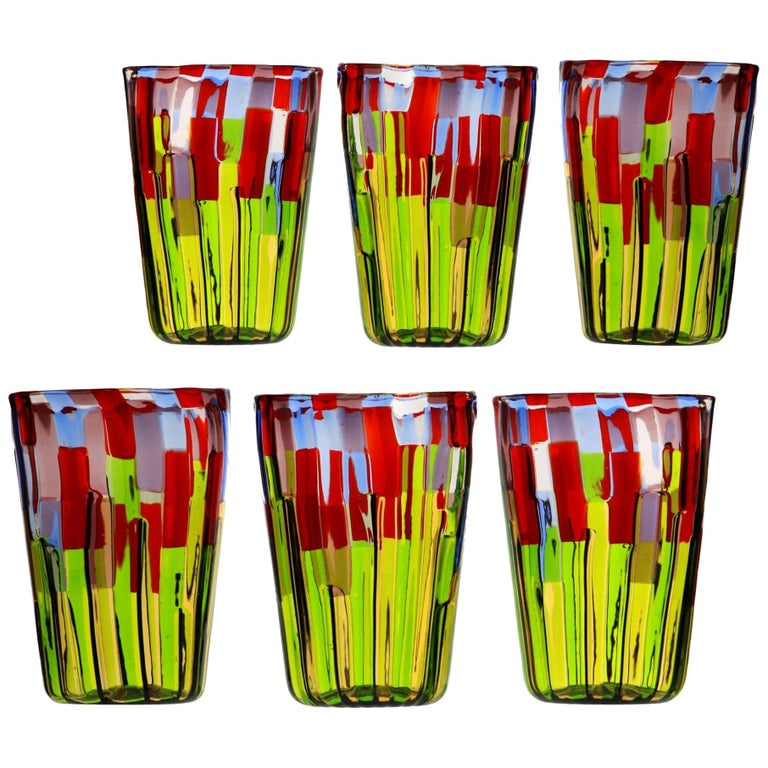 Murano Glass Tumbler, Blooming Field with Poppies and Lavender, unit price For Sale