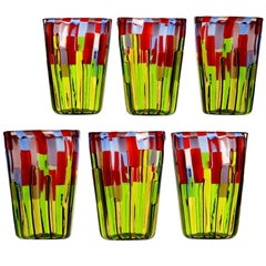 Set of 6 Murano Glass Tumblers, Blooming Field with Poppies and Lavender, Signed