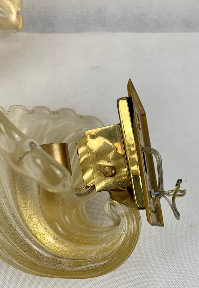Set Six Murano Gold Flecked Blown Wall Sconces For Sale 4