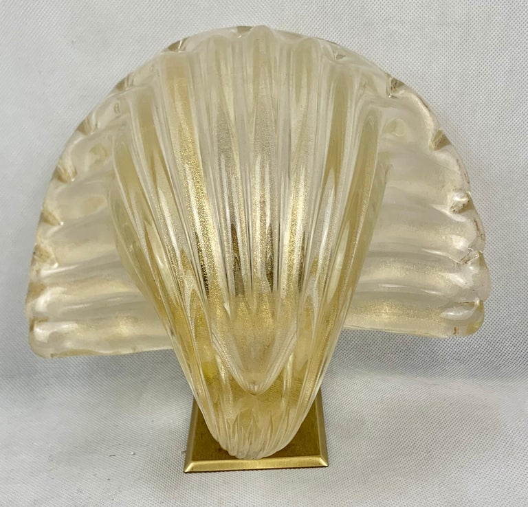 Set Six Murano Gold Flecked Blown Wall Sconces In Good Condition For Sale In West Palm Beach, FL