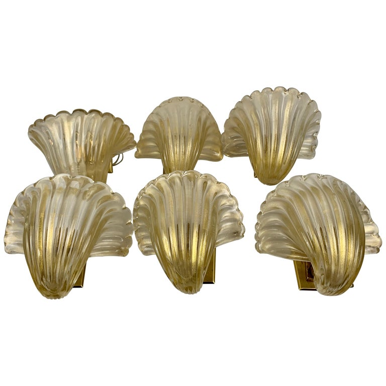 Set Six Murano Gold Flecked Blown Wall Sconces For Sale