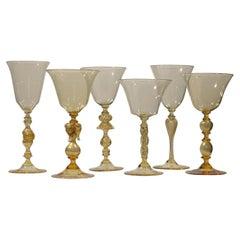 Set of 6 Murano Venetian Crystal Signoretto Wine Glasses