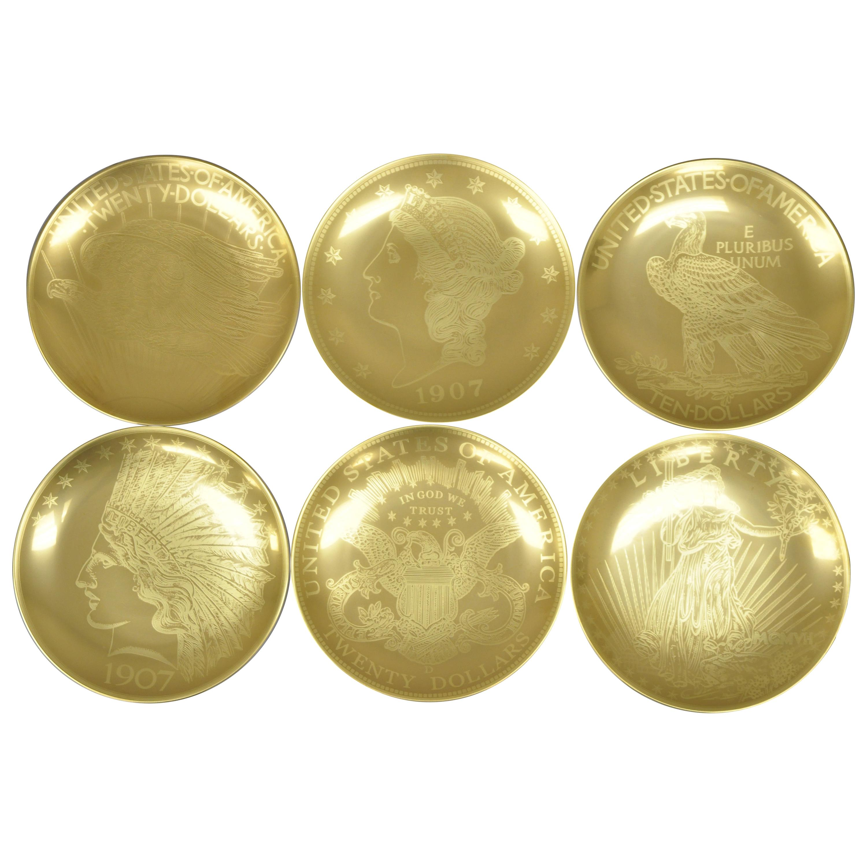 Set of 6 Neiman Marcus 95th Anniversary 1907 Gold Mintage Dessert Plates