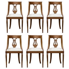 Set of 6 Neoclassical Style Lyre Back Chairs