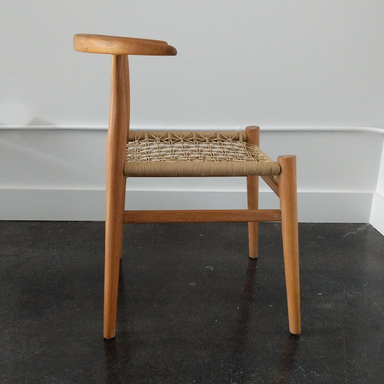 South African Set of 6 Nguni Dining Chairs in Iroko with Canvas Crosshatch Weave For Sale