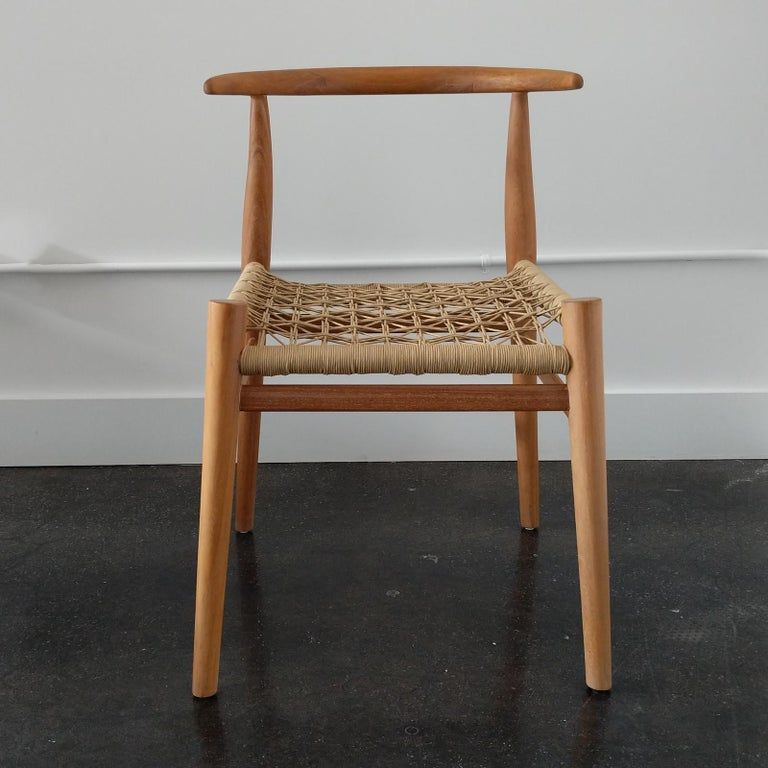Hand-Crafted Set of 6 Nguni Dining Chairs in Iroko with Canvas Crosshatch Weave For Sale
