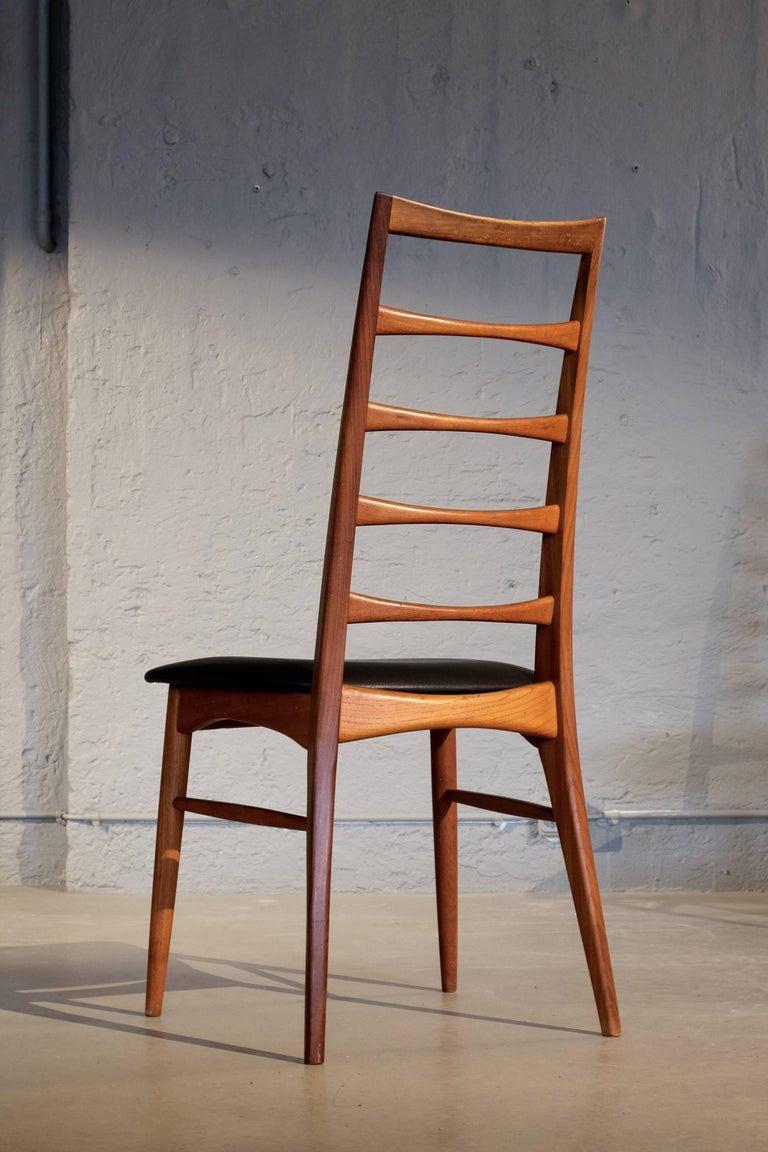 Scandinavian Modern Set of Six Niels Koefoed Dining Room Chairs, Denmark 1960s For Sale