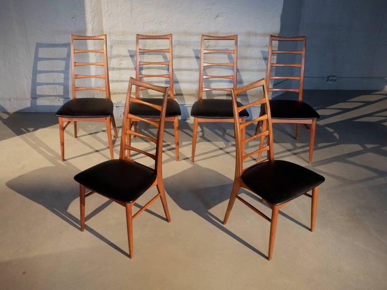 Danish Set of Six Niels Koefoed Dining Room Chairs, Denmark 1960s For Sale