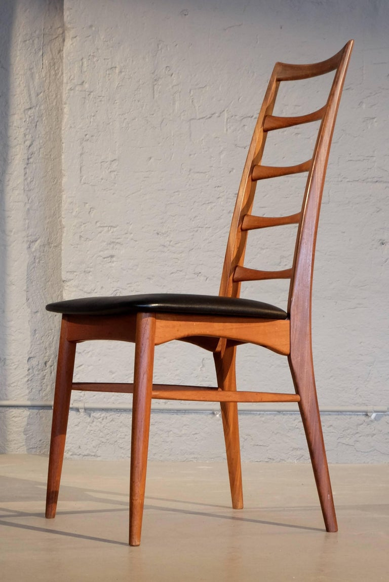 Mid-20th Century Set of Six Niels Koefoed Dining Room Chairs, Denmark 1960s For Sale
