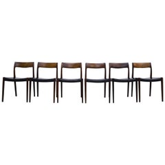Set of 6 Niels Moller Model 77 Rosewood and Leather Dining Chairs Denmark, 1950s
