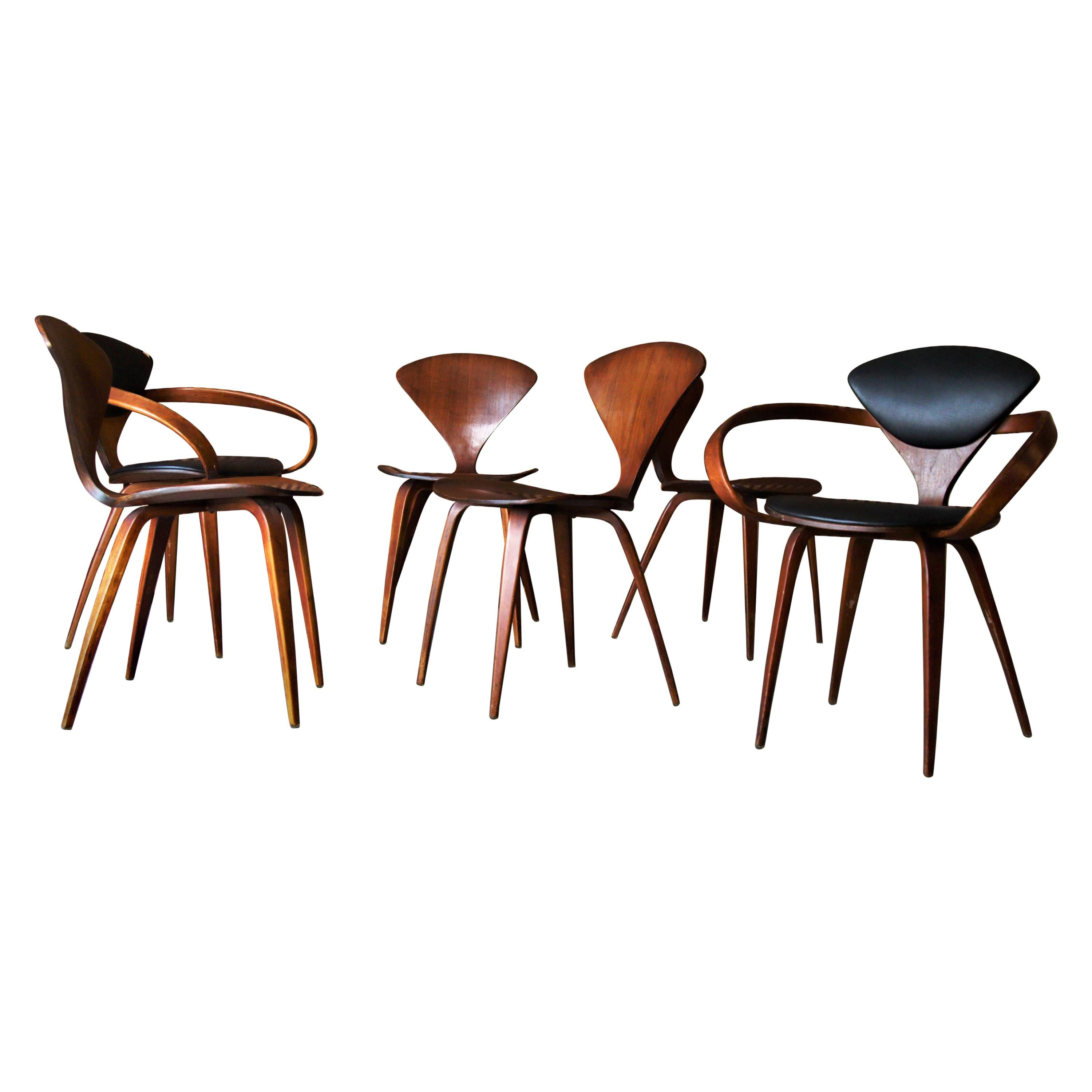 Set of 6 Norman Cherner for Plycraft Walnut Pretzel Dining Chairs