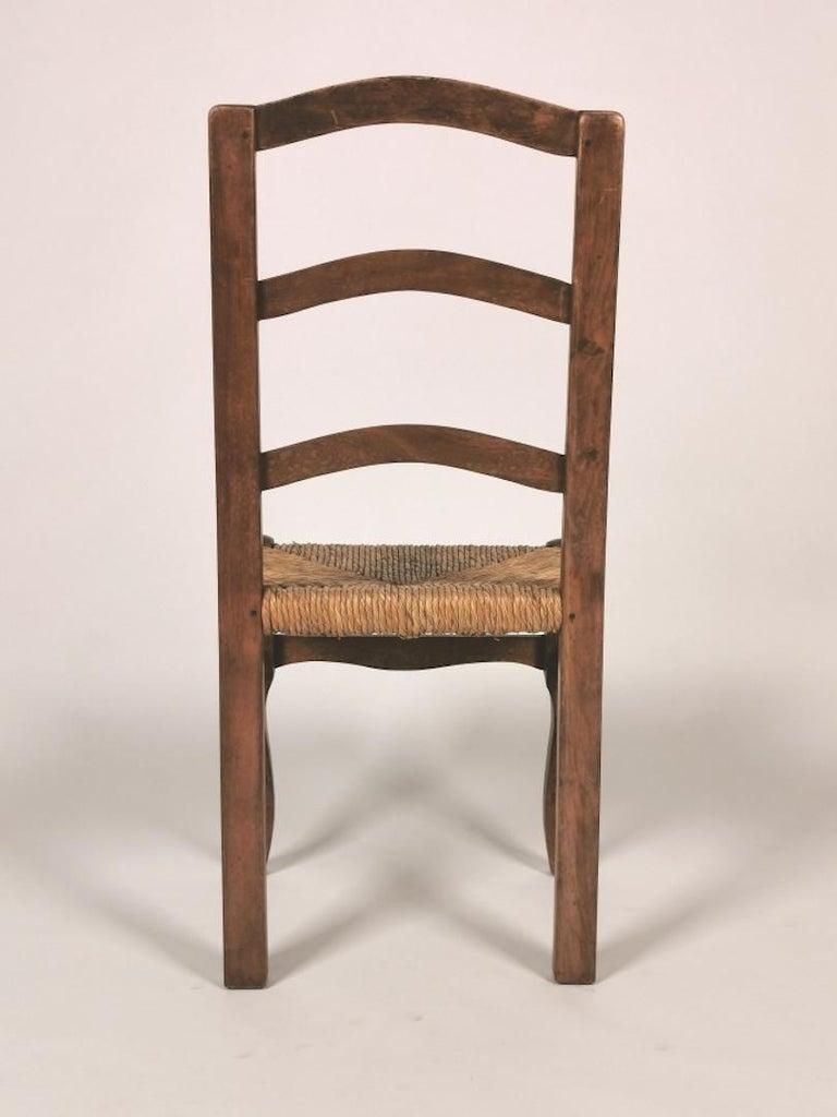 Set of 6 North Italian Walnut & Rush Dining Chairs, 19th Century For Sale 5