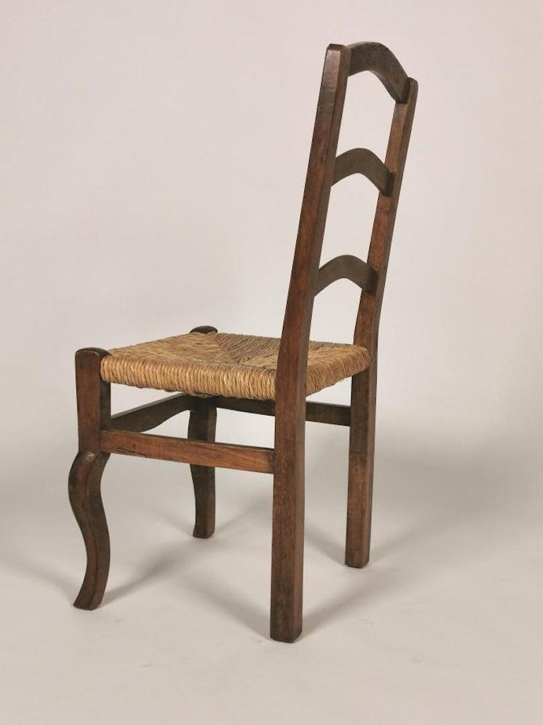 Set of 6 North Italian Walnut & Rush Dining Chairs, 19th Century For Sale 6
