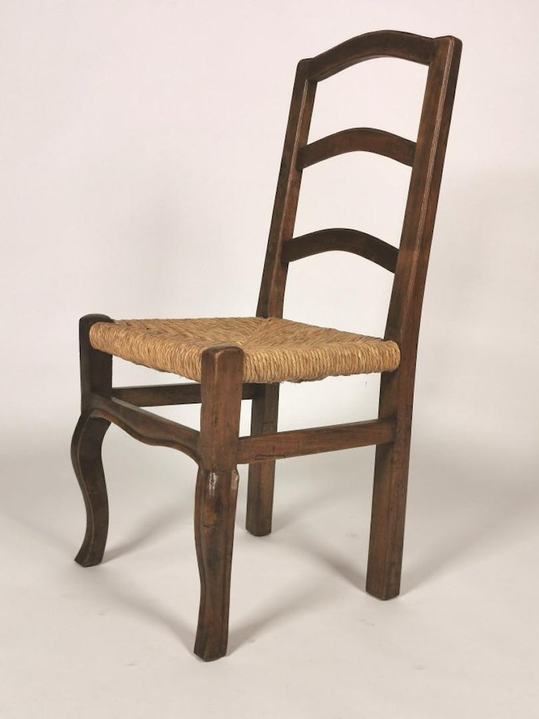 Set of 6 North Italian Walnut & Rush Dining Chairs, 19th Century For Sale 7