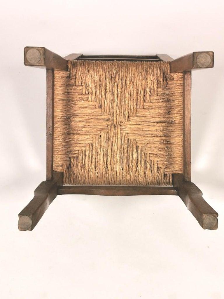 Set of 6 North Italian Walnut & Rush Dining Chairs, 19th Century For Sale 8