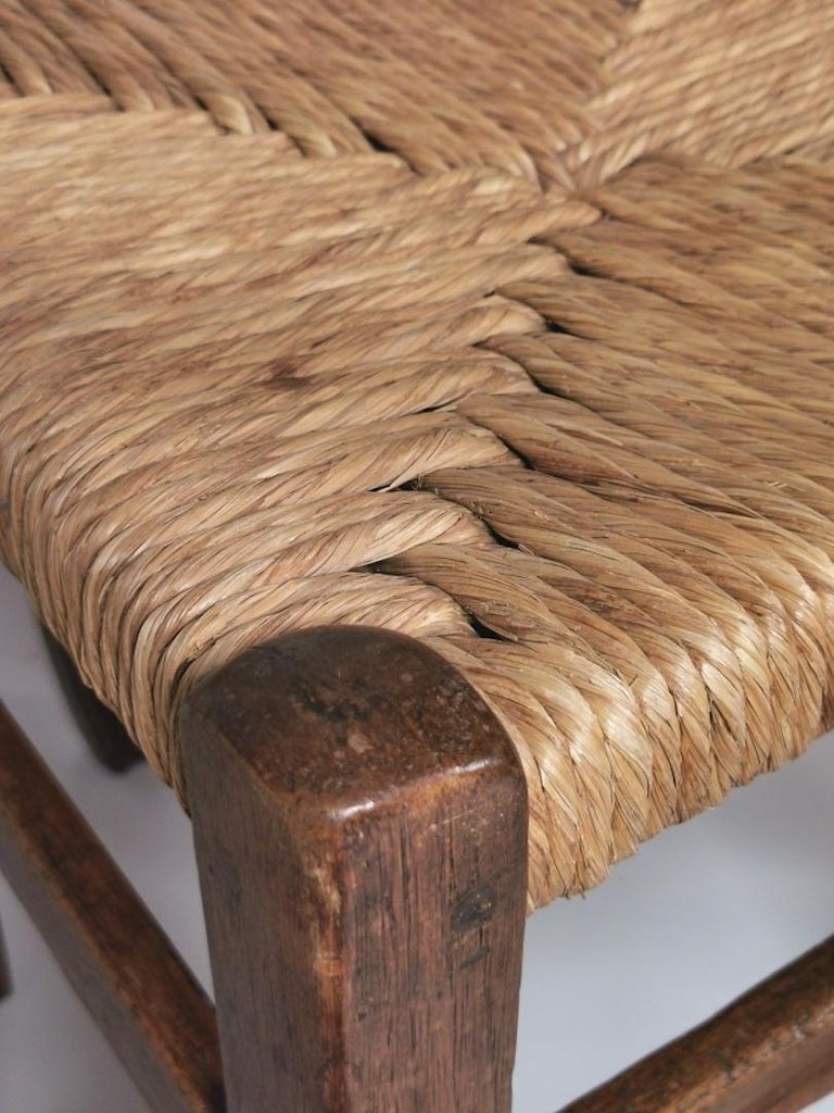 Set of 6 North Italian Walnut & Rush Dining Chairs, 19th Century For Sale 9