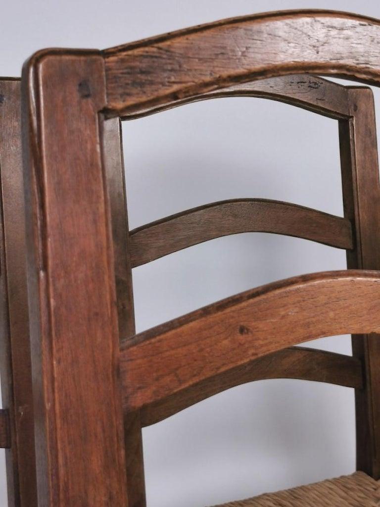 Set of 6 North Italian Walnut & Rush Dining Chairs, 19th Century For Sale 10