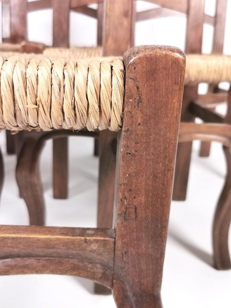 Set of 6 North Italian Walnut & Rush Dining Chairs, 19th Century For Sale 11