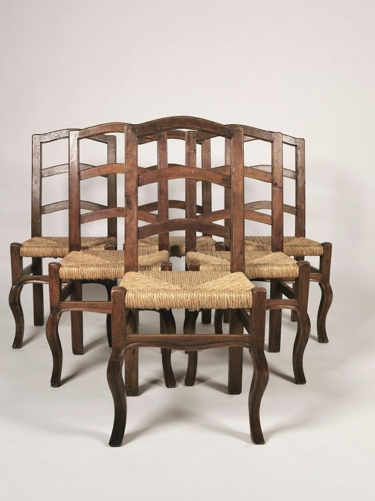 Rustic Set of 6 North Italian Walnut & Rush Dining Chairs, 19th Century For Sale