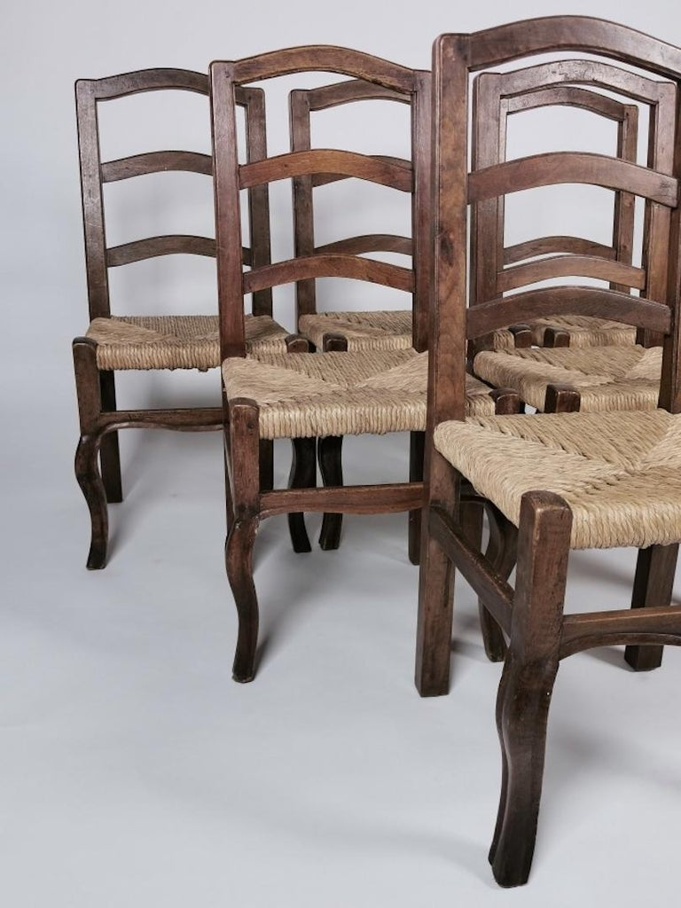 Mid-19th Century Set of 6 North Italian Walnut & Rush Dining Chairs, 19th Century For Sale