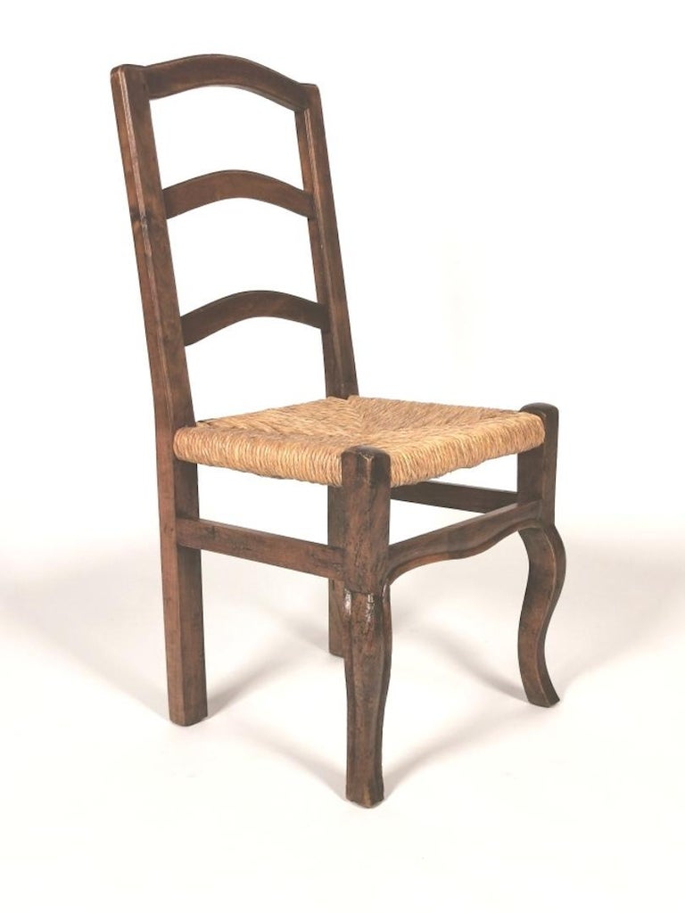 Set of 6 North Italian Walnut & Rush Dining Chairs, 19th Century For Sale 1
