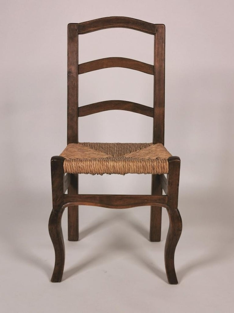 Set of 6 North Italian Walnut & Rush Dining Chairs, 19th Century For Sale 2