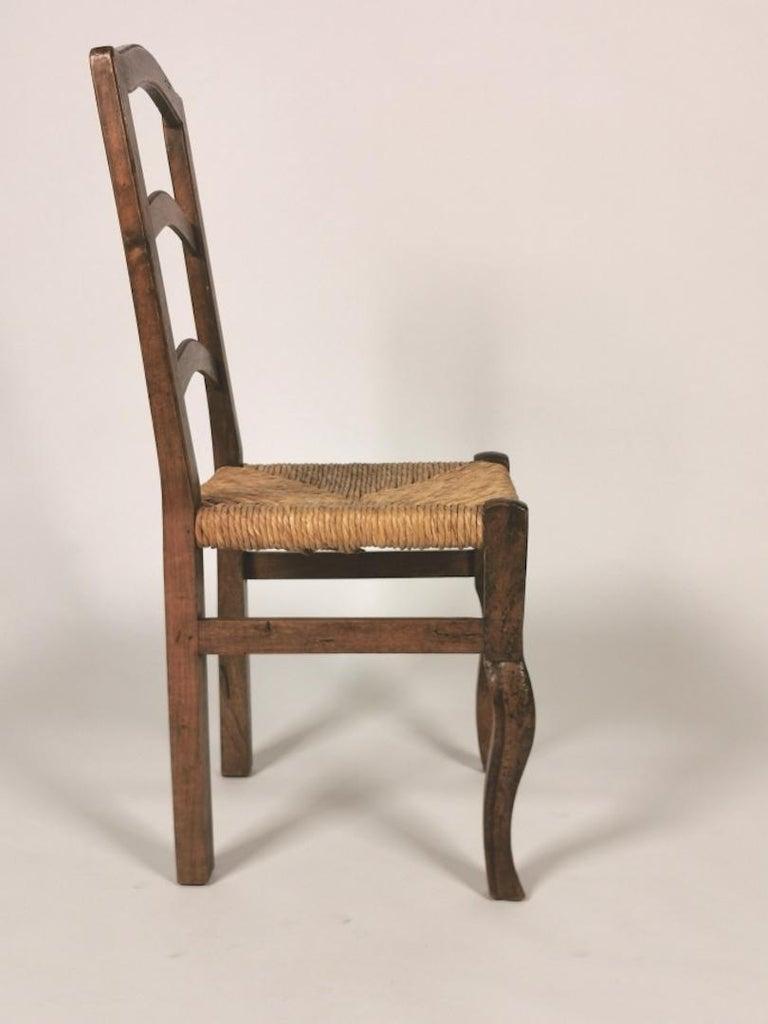 Set of 6 North Italian Walnut & Rush Dining Chairs, 19th Century For Sale 3