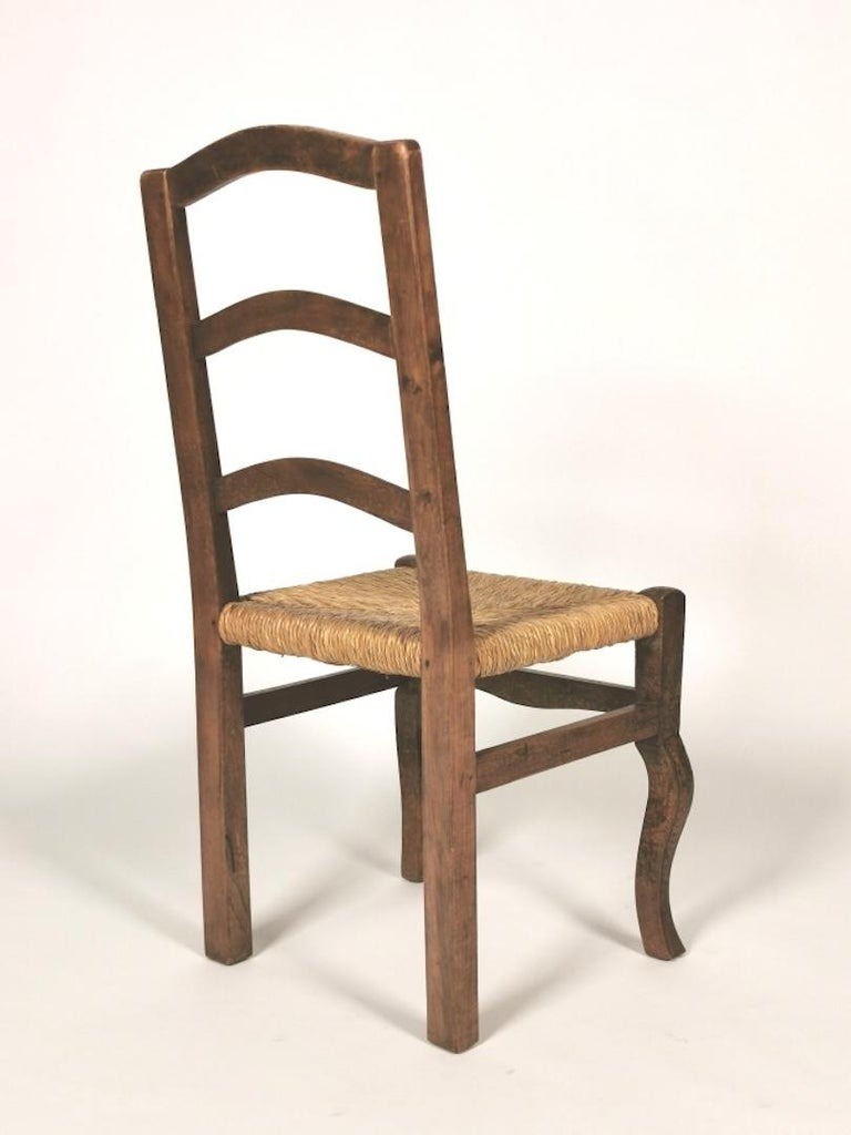 Set of 6 North Italian Walnut & Rush Dining Chairs, 19th Century For Sale 4
