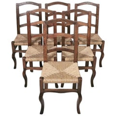Set of 6 North Italian Walnut & Rush Dining Chairs, 19th Century