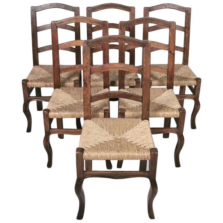 Set of 6 North Italian Walnut & Rush Dining Chairs, 19th Century For Sale