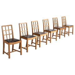 Set of '6' Oak and Leather Dining Chairs
