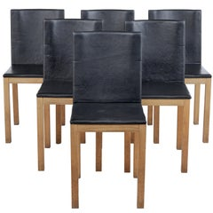 Set of 6 Oak and Leather Scandinavian Dining Chairs by Gemla