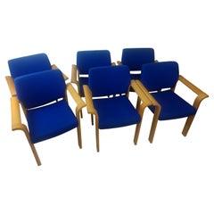 Set of 6 Oak Bentwood Mid Century Dining Chairs Rud Thygesen & Johnny Sorensen