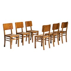 Set of (6) Oak & Cane Dining Chairs, France circa 1950