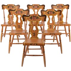 Set of 6 Ochre White Plank-Seated Pennsylvania Chairs with Rose Decoration