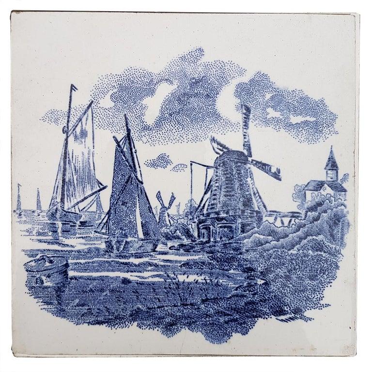 Set of 6 of Total 120 Dutch Blue Ceramic Tiles by Gilliot Hemiksen, 1930s For Sale 3