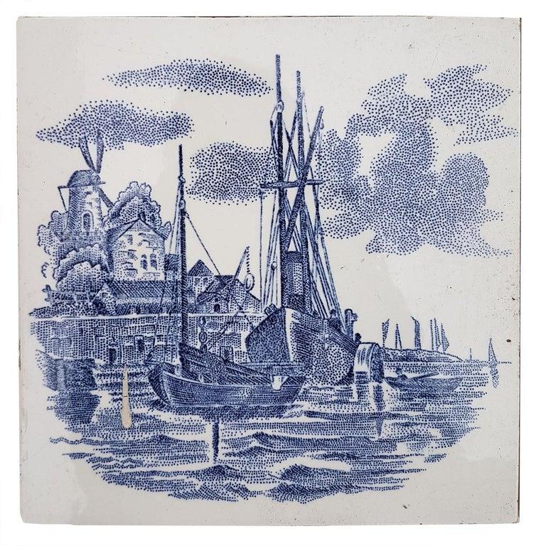 Set of 6 of Total 120 Dutch Blue Ceramic Tiles by Gilliot Hemiksen, 1930s For Sale 4