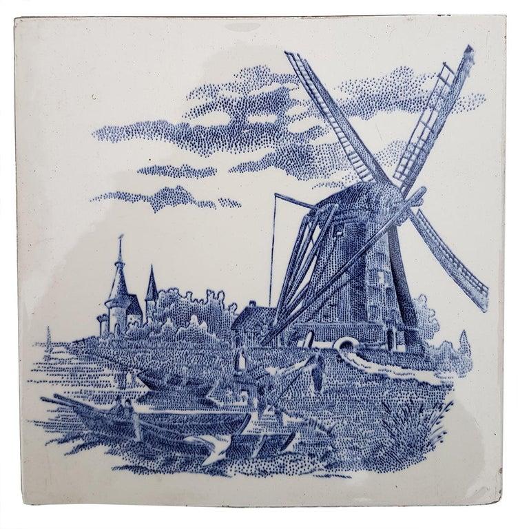 Set of 6 of Total 120 Dutch Blue Ceramic Tiles by Gilliot Hemiksen, 1930s For Sale 5