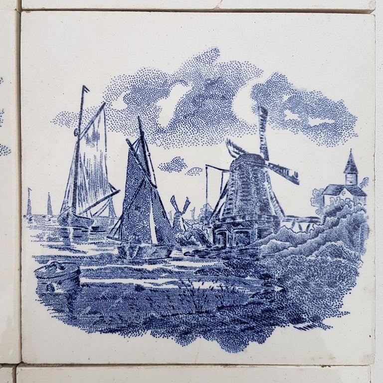 Folk Art Set of 6 of Total 120 Dutch Blue Ceramic Tiles by Gilliot Hemiksen, 1930s For Sale