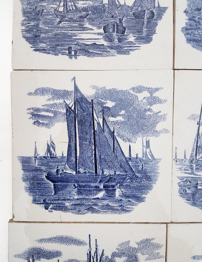 European Set of 6 of Total 120 Dutch Blue Ceramic Tiles by Gilliot Hemiksen, 1930s For Sale