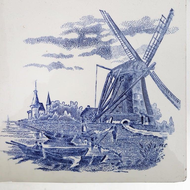 Glazed Set of 6 of Total 120 Dutch Blue Ceramic Tiles by Gilliot Hemiksen, 1930s For Sale