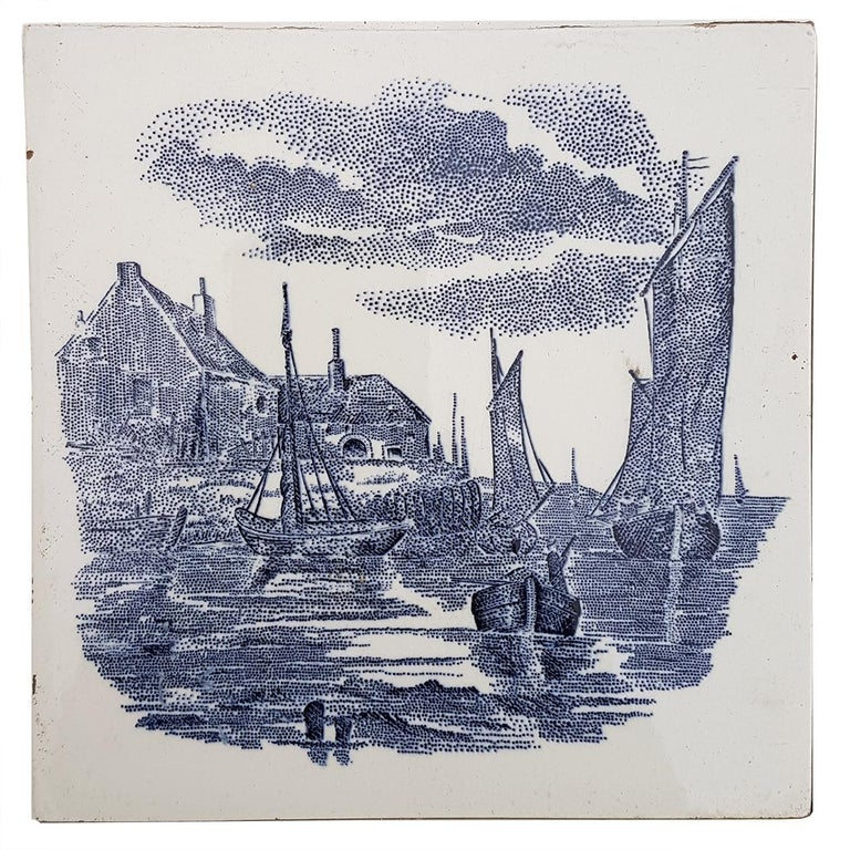 Set of 6 of Total 120 Dutch Blue Ceramic Tiles by Gilliot Hemiksen, 1930s In Good Condition For Sale In Rijssen, NL