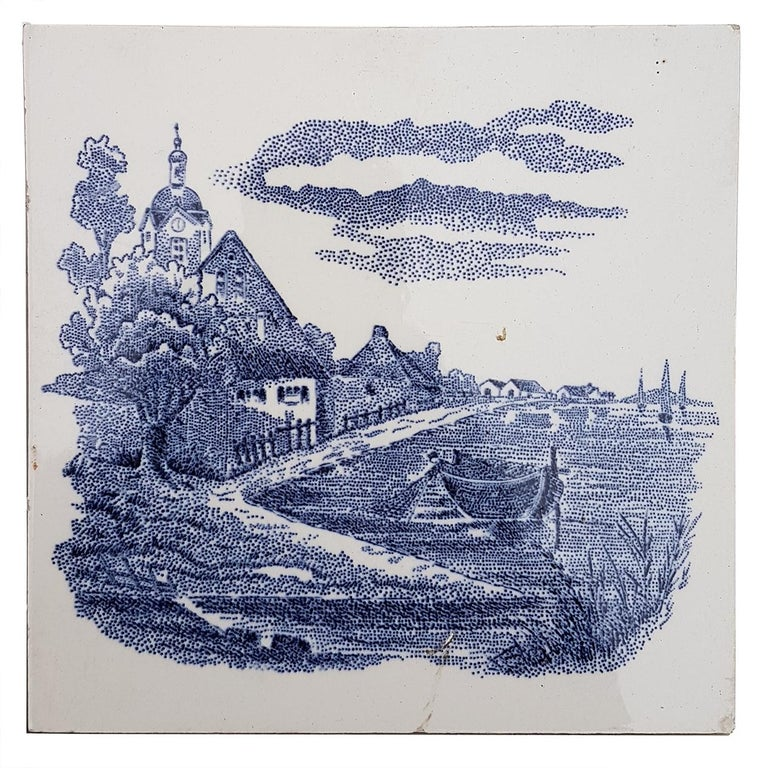 Mid-20th Century Set of 6 of Total 120 Dutch Blue Ceramic Tiles by Gilliot Hemiksen, 1930s For Sale